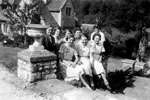 On steps of St. Catherine's Court & Church with Hanham/Kingswood aunts Madge & Jessie & friends over from Bristol, c1948.