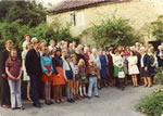 The Bishop of Bath & Wells, Dr. Henderson, & full group, outside the cottages at The Mead, for tea after service marking the raising of £3,000 for St. Catherine's Church Restoration Fund in 1975.