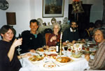 Dining room: Zoë, Alan, Margaret, Ian, Mary, Brian & Jean 1987.