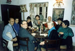 Joint birthday dinner parties - 'Madame La France's party in dining room whilst Jonathan's was in the breakfast room, January 1989.