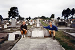 Jonathan & Michael Devereux, 2nd cousins on Gt. Grandmother's grave, Christchurch, N.Z. 1995. Mother of 14 Buttle children 1870 - 1896 Enniscorthy.