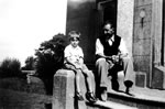 With Hanham Dad on entrance steps at Cahore.