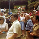 QUEENS SILVER JUBILEE PLOUGHMANS LUNCH AT SANDYBANK July 1977 opposite THE MEAD (in background with Valley view). 120 attended, Jonathan was Parish Chairman and Lady Craig Myle presented.