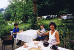 Mary Snell Mead resident 1970 back for tea with her two sons in 1988!