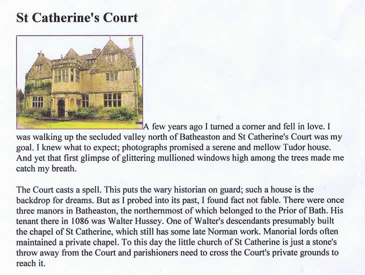Article about St. Catherine's Court