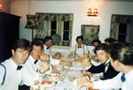 Dining room: 'The Honourables' stag party dinner 1990 - what followed was a very disturbed night in the house! Naughty boys!