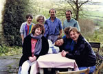 Winter Teas on Sundays at the house produced 80-100 customers regularly 1988-91 with log fires in the 1682 fireplaces and hot crumpet added to normal menu!! This pic shows 4 happy early-comers in front (one ABBA lookalike! and where are they now?!) with staff behind... Zoe, Fiona, J. and Nick who not only designed our 'Meadia' menus with monthly 'country file' but ran the Quedam competion for Yeovil's new shopping mall previously.