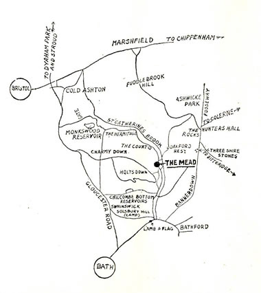 Main map showing how to get to the Mead Tea Gardens from the 1923 to 1947 Original Brochure